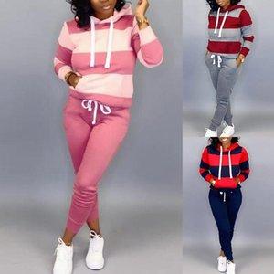 여성 스트라이프 후드 운동복 가을 신상품 운동복와 스포츠 바지 긴 소매 패션 스포츠웨어 스포츠 요가 세트를 실행