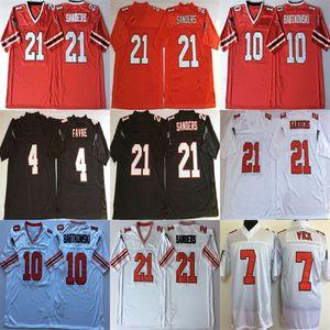 Football Jersey 4 Brett Favre 7 Michael Vick 21 Deion Sanders 10 Steve Bartkowski NCAA Blanc Rouge Noir Rétro Maillots Cousu Hommes