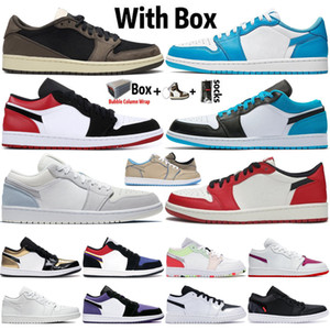 2020 con la caja de Jumpman Low OG UNC Travis Scotts 1 1s para hombre de los zapatos de baloncesto Diseñador Obsidiana París Chacigo entrenadores deportivos zapatilla de deporte Tamaño 36-45