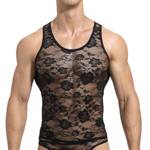 Sexy кружева Mens Tank Tops Прозрачный Mesh Singlet белье Гей Exotic Главная Lounge Sleep Wear Undershirt Летний жилет