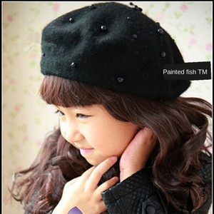 chapeau de béret girlswool de style coréen de de Painter enfants chapeau de Pearl enfants Beret peintre