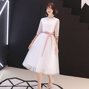 Con abiti bianchi del merletto della ragazza di sfera partito convenzionale Cintura rosa elegante per adulti cerimonia del vestito da 2020 nuovo partito di sera