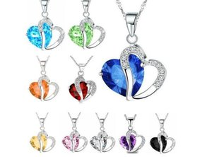Women Fashion Heart Crystal Rhinestone Silver Chain Pendant Necklace Jewelry 10 Color R012