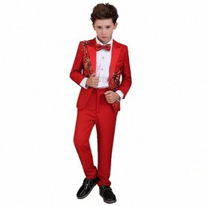 Fashion Boys Suits for Wedding Party Prom Kids Red Tuxedo Blazer Suit Boys Formal Wedding Party Gentleman Clothing Set F308 MswY#
