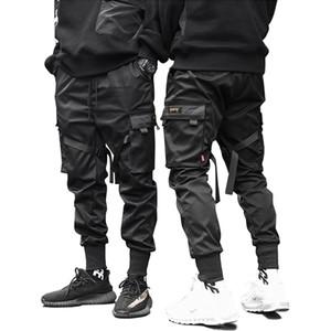 Macho da dança Pant Harem Pant Homens Streetwear Punk Hip Hop Casual Calças Corredores Homens Multi-bolso elástico na cintura