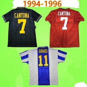RETRO MANCHESTER 1994 1995 1996 المتحدة أحمر أسود FOOTBALL SHIRT 94 95 96 خمر كرة القدم جيرسي الكلاسيكية MAN UTD كانتونا هيوز غيغز اينس