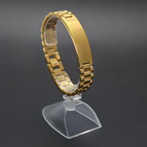 Neue Herrenuhr Armband vergoldet Edelstahl Links Manschette Armreifen Hip Hop Schmuck für Männer Geschenk