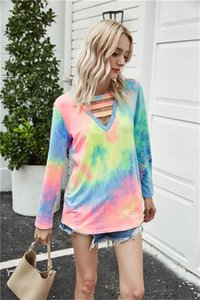 Womens Designer V Neck Patchwork Tshirts Fashion Long Sleeve Womens Solid Color Top Spring Ladies Tee