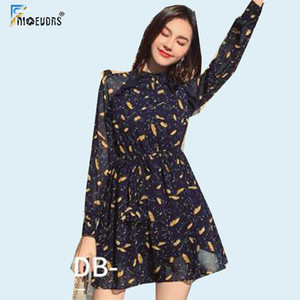 2020 Spring Ruffled Mini Dresses Hot Sales Women Fashion A Line Little Patchwork Sheer Mesh Printed Cute Sweet Mini Dress F3222