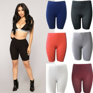 2020 New Womens Basic Pure Color Stretch Locomotive Sports Pants Pure Solid Cotton Trousers Knee Length