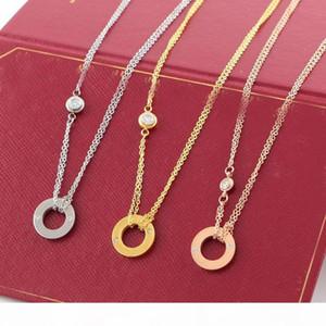 LIEBE Kreis-Halskette mit CZ-Diamant-Anhängern Rose Gold-Silber-Farben-Halskette für Frauen-Weinlese-Kragen-Modeschmuck mit Original-Box-Set