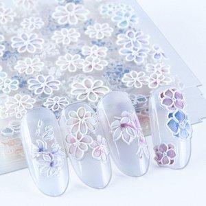 Белые цветы 5D Резные ногтей наклейки гравированные Лепесток Slider самоклеющиеся Таблички Nail Art Decoration Полная Wrap BE1019 cvRE #