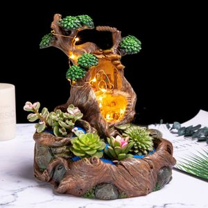 Resin Handmade Sky Garden Wooden House Plant Succulent Pot DIY Planter Resin Crafts Decor With Light Strip Y200709