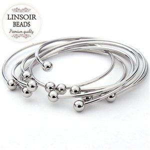 5pcs / lot Couleur européenne Argent réglable Cuff Ouvert pour femmes Expandable fil Bangles Bracelets avec breloques perles F2012
