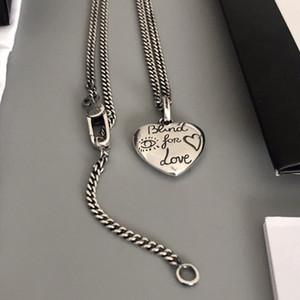 Aşk kuşlar ve çiçekler için Fantezi iki G925 Gümüş Göz Kör oyulmuş kalp şekilli kolye kolye moda
