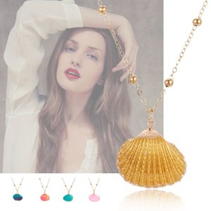 15 Colors Fashion Women Necklace Natural Shells Pendant Jewelry Adj Alloy Chain Choker For Female Summer Beach Girl Accessories