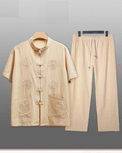 pur coton Tang costume masculin style chinois été Hanfu ensembles à manches courtes hommes en lin coton chemise et un pantalon