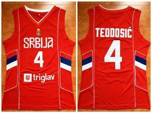 Теодосич # 4 Сербии Srbija Национальных баскетбольного Джерси прошитого на заказ Номер Название Трикотажного Любого размера XXS-6XL жилета трикотажных изделий NCAA