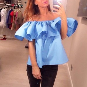 Simplee Sexy off shoulder women blouse shirt Summer crop tops Elegant ruffle slash neck party tees Girls beach tube top