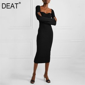 deat 2020 NEW SPRING and winter sqaure collar flare sleeves knitting sexy slim pullover long knits dress female WK39101L