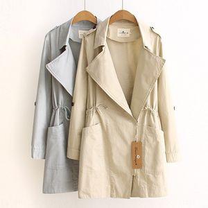 2020 new Harajuku all-match medium Windbreaker coat and long style waist women's windbreaker suit collar medium and long coat women