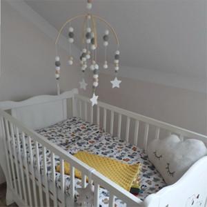 INS nórdica bolas de madera Wind Chimes con lana de bolas bebé recién nacido cama colgante Windbell cuna Tent habitación de los niños Decoraciones Adornos