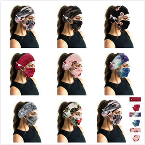 Sports headband Face Masks Holder Headband for Camouflage Bohemia Floal Style Head Wrap Hair Band Sport Button Headband for Women Girls
