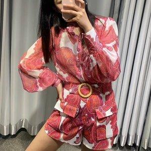2020 أزياء المرأة الملابس الأحمر طباعة 2 مجموعات قطعة كم طويل الوقوف طوق بلوزة والسراويل مع وشاح Cottom الكتان T200716