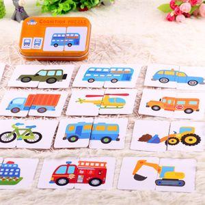 Primeiros Educação Montessori Brinquedos enigma LOT Graph Match Game do miúdo Cartão de Bolso do Flash Card desenhos animados Veículo Aprendizagem