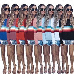 Women Pullovers Striped Hoodie Long Sleeve T shirt Summer Autumn Spring Tees Tops Sweatshirt Girls Hip Hop Blouse Hoodies hot Sale D71514