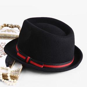Beckyruiwu Erkekler Fedora Şapka Moda% 100 Saf Avustralya Yün Klasik Yün Keçe için Domuz Pie ile Erkekler Şapka