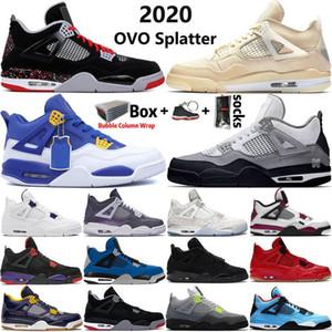 2020 Air Jordan 4 Nouvelle arrivée haute top 4 4s hommes Jumpman chaussures de basket-ball blanc X violet voile métallique OVO Splatter mens sport Chaussures de sport Taille 13