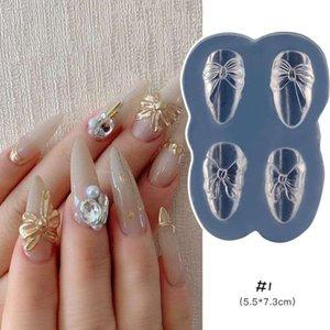 Nail Art Decoration, 3D Silicon UV Nail Decoration Mold Nail Art Template Decals Bear ,Bowtie , Heart