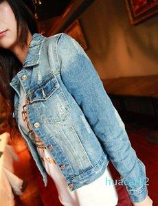 Fashion-Wholesale 2017 basic Outerwear women's jacket coats with the size of long-sleeved lapel short denim jacket denim ladies jacket 8836