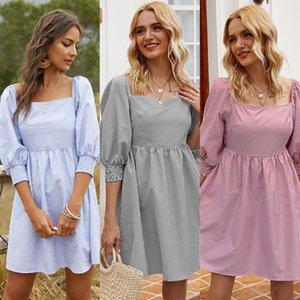 New 2020 Spring New Model Women's Striped Medium Length Cute Dress dress elegant party maxi dresses for women