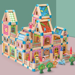 128pcs  268pcs Doll House Miniature DIY Dollhouse With Doll Wooden House Toys For Children Gifts Holiday Times CHRISTMAS MX200414
