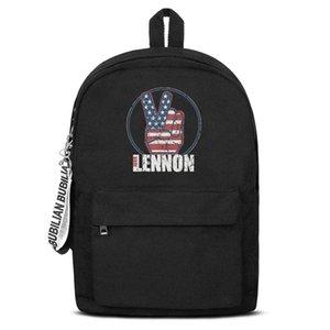 La pace della tela di canapa classico di John Lennon Bianco Blu Rosso Bookbag base zaino riutilizzabile Scuola Studente Sport Daypack Lo Stati Uniti contro immaginare e