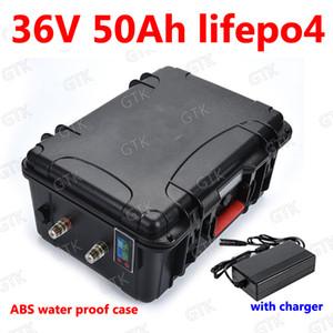 GTK wasserdicht 36V 50AH Lifepo4 Lithium-Batterie mit BMS Temperaturanzeige für 1500W Roller Fahrrad Tricycle Go-Kart + 5A Ladegerät