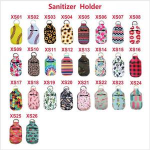 Neoprene Hand Sanitizer Bottle Holder Keychain Bags 30ml Key Rings Printed Lipstick Holders Lip Cover Handbag Keychain Pouch