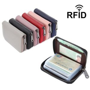 & ID Holders Genuine Leather Women Business Card Holder Wallet Bank Credit Card Case ID Holders Rfid Wallet Ladies Coin Purse