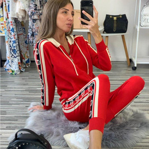 New Fashion Womens Brand Tracksuit Women 2 Pieces Set Sweatsuit Zipper Striped Tracksuit Long Sleeve Sweatshirt + Pants Women's Sets