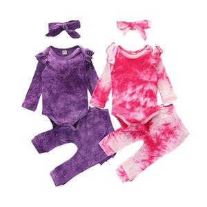 Fashion Girl New roupas de bebê bonito Ruffle com nervuras algodão Roupa Set Tie Dye Imprimir manga comprida Bodysuit Pants + + Headband 3pcs Suit