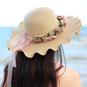 Straw toque sole sole stile coreano femminile Estate Onda Spiaggia cappello di paglia della spiaggia del cappello femminile fresco d'estate