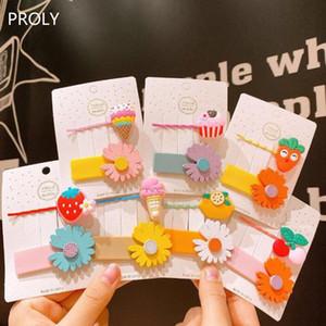 PROLY 2 / Adet / Set Yeni Güzel Karikatür Kızlar Tokalar Çocuklar Çiçek Şeker Renk Tokalarım Plastik Top Kalite Saç Aksesuarları