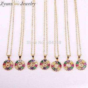 10PCS ZYZ337-8295 Gold Color Rainbow CZ Micro Pave Intitial Letters Pendant Necklaces Women's Fashion Jewelry CZ