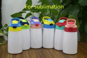 12oz 승화 sippy 컵 350ml 승화 어린이 물 병 빨 대 뚜껑 휴대용 스테인레스 스틸 마시는 텀블러 6colors