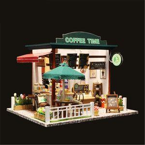 Hot Sale 3D Wooden DIY COFFE TIME Dollhouse Miniature Cute Mini Doll House Educational Assemble Kit Christmas Birthday Gift Toy MX200414