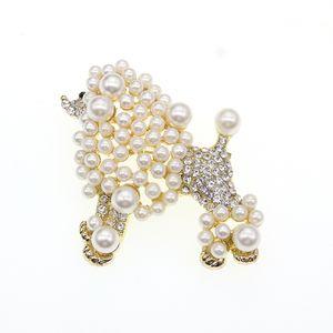 50pcs / lot pérola frete grátis Ouro chapeamento de luxo Poodle puppy broche de pino puppy broche