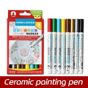 L'alta qualità 8 colori ceramica penna dipinto a mano Creative Glass Disegno pennarello DIY tazza cotto pennello penna Y200709