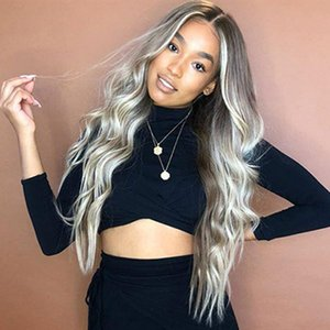 New design Grey Blonde Ombred Long Hair Wigs Loose Deep Wave Body Wave Wigs Synthetic Heat Resistant Glueless for Women